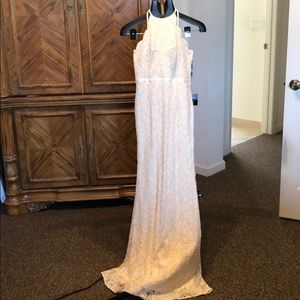 Lulus high next lace cream gown